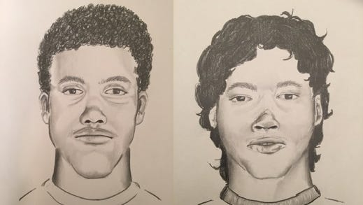 Investigators released these two sketches in an attempt for the public to help identify two men found dead in Shawnee on Sunday.