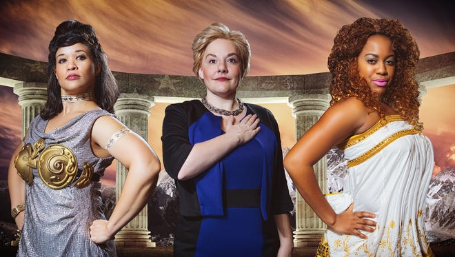 "Lyra Halsten plays Athena, Amanda Lloyd Julson plays Hillary Clinton and Ayriel Trizzette Everett plays Aphrodite in ""Hillary: A Modern Greek Tragedy With a (Somewhat) Happy Ending"" runs through Feb. 13 in West Des Moines."