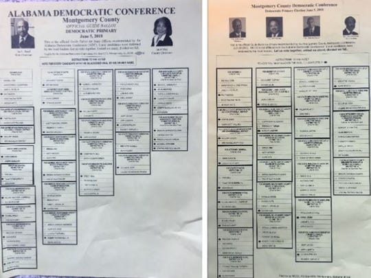 Side by side comparison of the two Democratic caucuses endorsements for the primary race in Montgomery, Ala. on June 5, 2018.