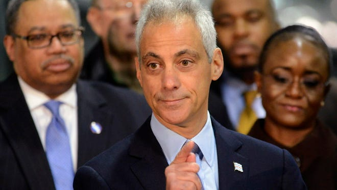 Chicago Mayor Rahm Emanuel speaks at a news conference Tuesday, Jan. 5, 2016, in Chicago where he announced an expansion of the CTA's successful Second Chance Program.