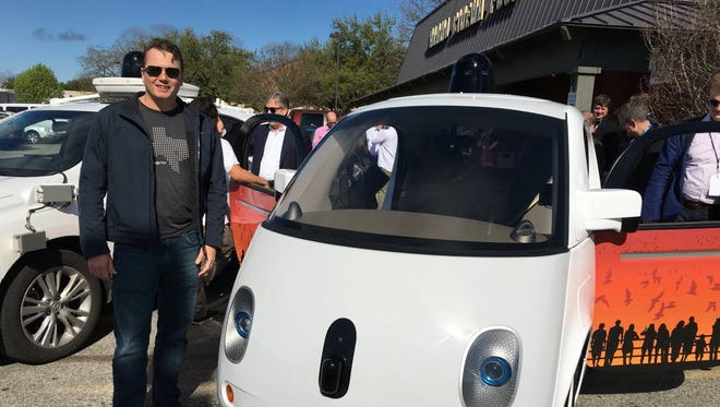 Chris Urmson, shown here last March at South by Southwest Interactive with Google's prototype self-driving car, announced that he would be departing the search company, where he was chief technology officer for its autonomous car project for seven years.