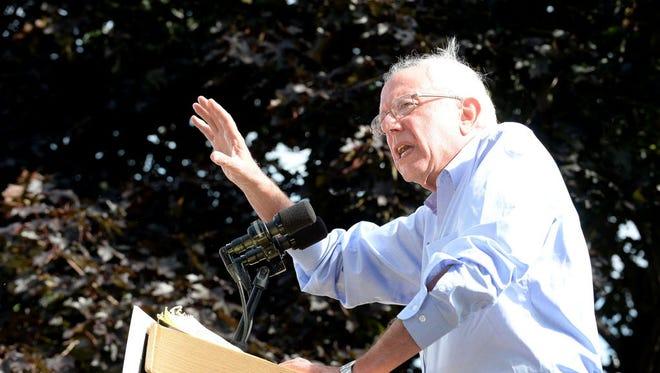 Sen. Bernie Sanders speaks at an organizing event for Hillary Clinton in Lebanon, N.H., on Sept. 5, 2016.
