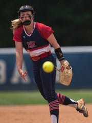 Southern Indiana's Jennifer Leonhardt delivers a pitch to a Wayne State batter during the first game of the 2017 NCAA II Midwest Super Regional at the USI Softball Field.