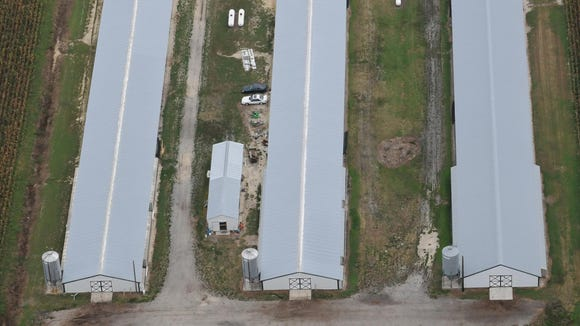 An aerial view of chicken farm in Wicomico County.