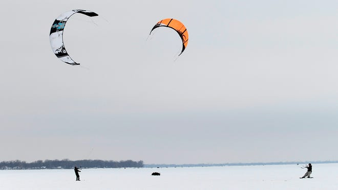 Every February around sturgeon spearing season, kiteboarders come to Fond du Lac to compete. The contest is free for spectators.
