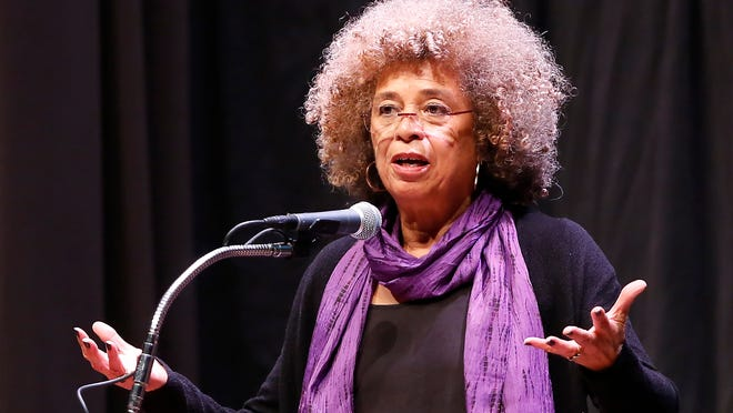 Angela Davis, social justice activist, author and educator speaks Wednesday at Elliott Hall of Music at Purdue University.