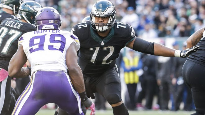 Philadelphia Eagles offensive tackle Halapoulivaati Vaitai (72) in action against Minnesota Vikings defensive end Danielle Hunter (99) during the National Football League game, Sunday, Oct. 23, 2016, in Philadelphia. The Eagles won 21-10.