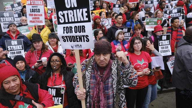 Actor, musician and activist, Steven Van Zandt, center, joins in support of striking Los Angeles teachers and students on the picket in front of Hamilton High School on Jan. 16, 2019.