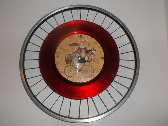 This clock is made from bicycle parts.