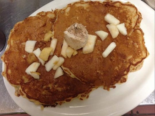 Oatmeal apple pancakes with cinnamon butter served at Carver's in Denville.