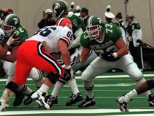 MSU offensive lineman Scott Shaw (73) blocks against