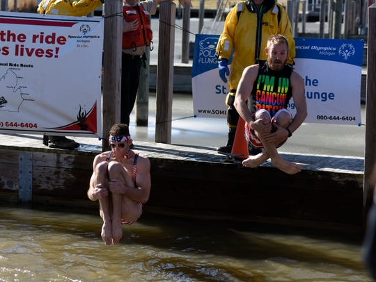 Two plungers do cannonballs during the 2017 St. Clair
