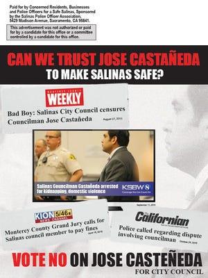 The Salinas Police Officers Association has sponsored a mailer against city council incumbent Jose Cataneda.