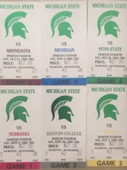 Michigan State football season tickets in 1995, for