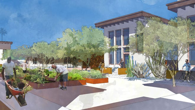 "An architect's rendering of a new ""micro estate"" community in Tempe, Ariz., designed to tackle affordable housing problems with small, well-designed single-family homes."