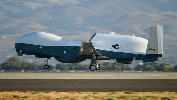The MQ-4C Triton takes off from Northrop Grumman's