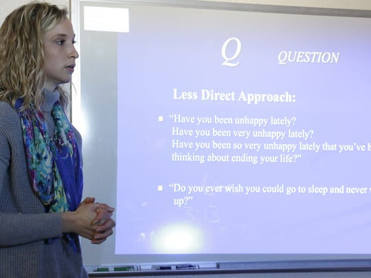 Lead therapist Sarah Kidd walks committee members through Question, Persuade, Refer (QPR) training during the Suicide Prevention Steering Committee Thursday at Esperanza Guidence Services, 718 10th St.
