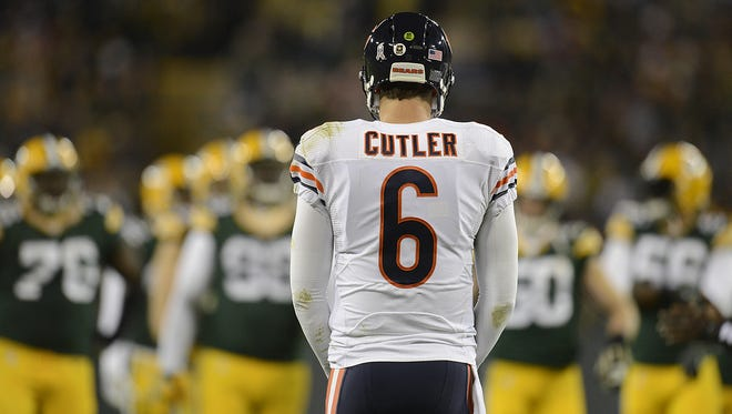 Chicago Bears quarterback Jay Cutler faces the Green Bay defense during last November's game at Lambeau Field.