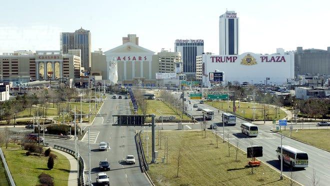 File: Casino towers dot the skyline of Atlantic City, N.J.