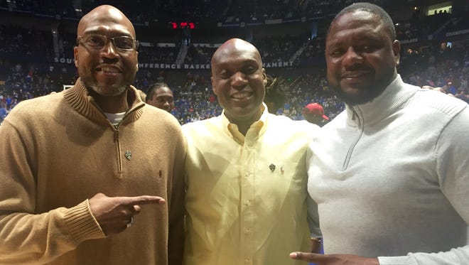 Former Stratford player Dontae' Jones, who went to play at Missississpi State, left, former BGA star Barry Booker (Vanderbilt) and former Pearl-Cohn star Ron Slay (Tennessee), were honored Saturday as SEC legends at the league's basketball tournament at Bridgestone Arena.