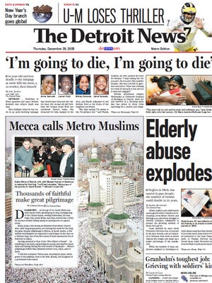 The front page of The Detroit News on Dec. 29, 2005.