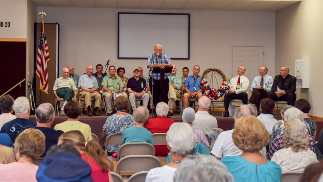 Greencastle Mayor Robert Eberly speaks to locals at the opening ceremonies for the 39th triennial Old Home Week celebration on Saturday, August 6, 2016 at Family Life Center, Greencastle Church of the Brethren, 36 S. Carlisle St. The ceremony was to take place in the town square, but moved indoors due to rain.