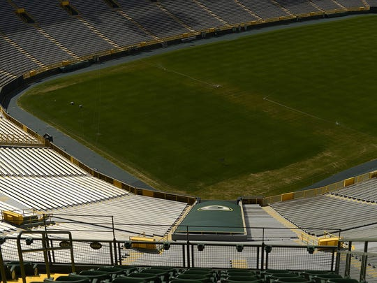 The condition of the playing field still showed wear from the Kenny Chesney and Jason Aldean concert as of July 21, 2015.