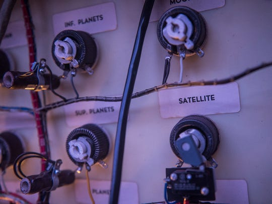 Knobs and control dials with names of the planets and other  constellations on Feb. 28, 2016 show how the current system--soon to be digitized--works.