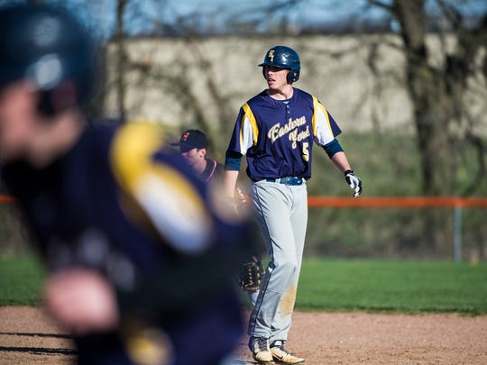 Eastern York's Colby Shimmel watches home plate during the game against Hanover at Hanover High School on April 5, 2016.