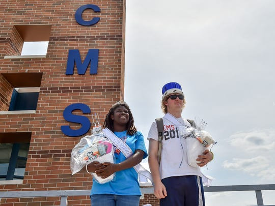 Seniors Racheal Klink, left, and Clayton Schalehase are the new Color Day queen and king at Chambersburg Magnet Career School on Friday, May 20, 2016. Each class competed in a series of events to determine who would be the Color Day King and Queen. The class with the most points was the seniors, Class of 2016.