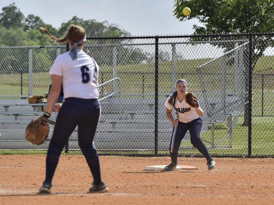 Chambersburg's Tara Harmon throws the ball to Sammie Bender earlier this season. Bender has filled the role of catcher for the last two games and is expected to do so again in Monday's PIAA opener.