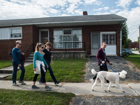 Participants head toward York Street from South Western High School during the 40th annual CROP Walk in Hanover on Oct. 16, 2016.