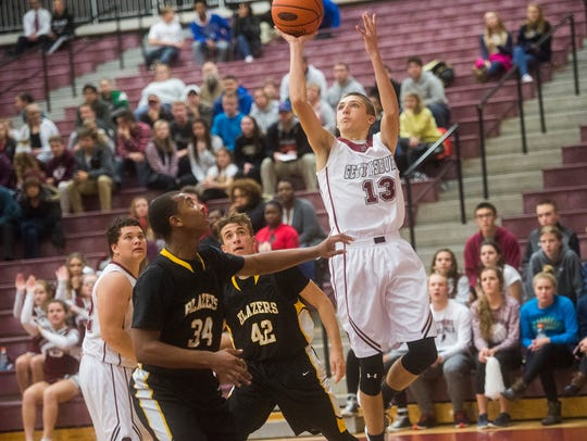 Gettysburg's Zach Ketterman shoots during the game