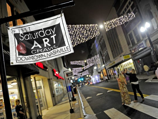 The First Saturday Art Crawl on Fifth Avenue of the Arts in downtown Nashville has become a popular free monthly outing for art lovers.