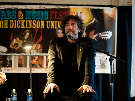 Author Neil Gaiman at a panel discussion at the 2014