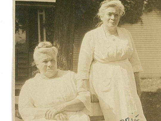 Mary and Abbie Dakin on the farm, which was in the