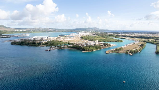An aerial view of U.S. Naval Base Guam.