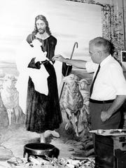 The Rev. Dr. C. Guy Stambach considered himself a pastor first, but painting was a part of his ministry. Here, he works on a canvas in Duncannon, Pa., in July 1954.