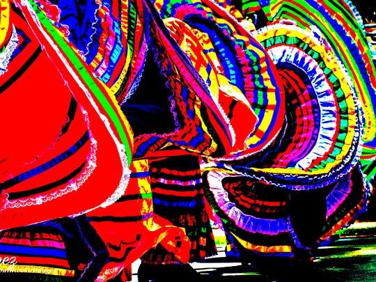 "In ""Cinco de Mayo,"" Bill Lopez focuses on digital-enhanced skirts of folklorico dancers."