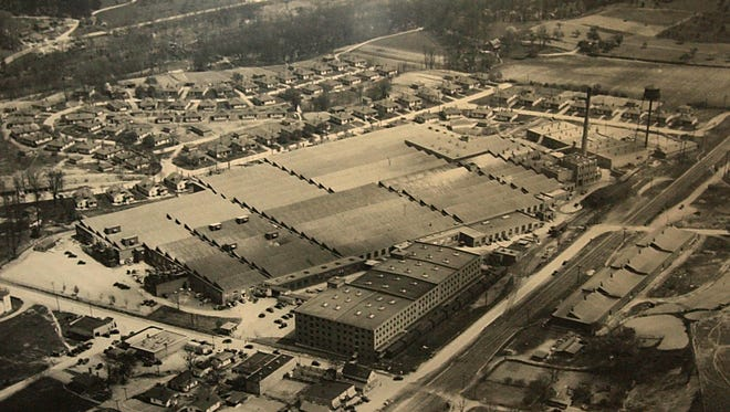 A historic aerial shot of Beacon Manufacturing in Swannanoa. When it burned in 2003, the property adjacent to Whitson Avenue comprised more than 1 million square feet, and the grounds measured 42 acres.