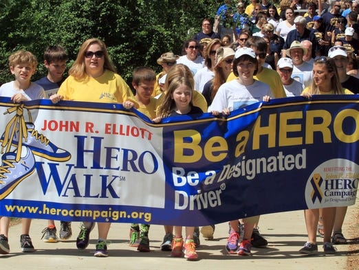 ASB 0609 HERO WALK The HERO Campaign, a non-profit organization dedicated to promoting the use of safe and sober designated drivers to prevent drunk-driving tragedies, sponsors its first Monmouth County HERO Walk at Broookdale Community College Campus, Sunday, June 8, 2014. NJ - Photo by Mary Frank