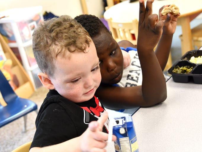 Children at the Meyer Center for Special children eat