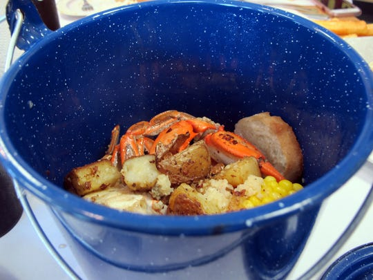 Steamed crab boil in a pot at Charlie's Seafood & Pub off Immokalee Road in North Naples.