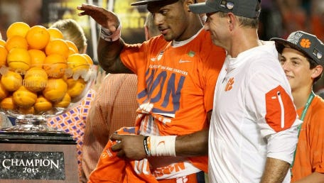 Clemson coach Dabo Swinney, right, and quarterback Deshaun Watson celebrate after their 37-17 win over Oklahoma in the 2015 Orange Bowl.
