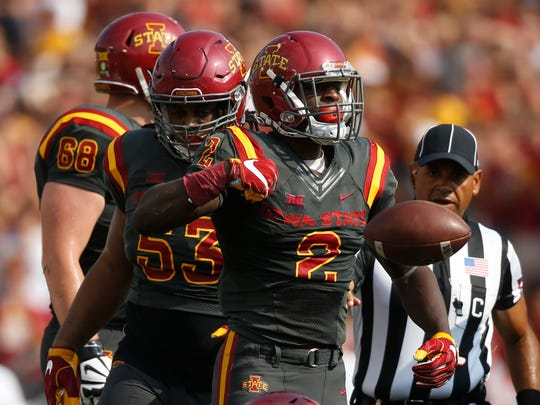 Iowa State running back Mike Warren celebrates after getting a first down against San Jose State Saturday, Sept. 24, 2016 at Jack Trice Stadium in Ames.