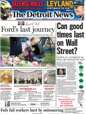 The front page of The Detroit News on Dec. 29, 2006.