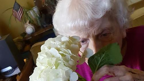 Lorraine receives horticultural therapy.