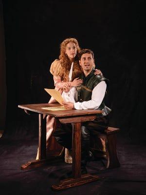 "Betsy Mugavero plays Viola de Lesseps and Quinn Mattfeld plays Will Shakespeare in the Utah Shakespeare Festival's 2017 production of ""Shakespeare in Love."""