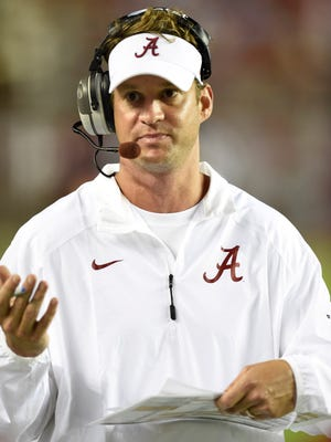 Alabama Crimson Tide offensive coordinator Lane Kiffin on the sidelines  against the Southern Miss Golden Eagles during the second half at Bryant-Denny Stadium.