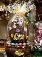 A chocolate Easter basket centerpiece is for sale at